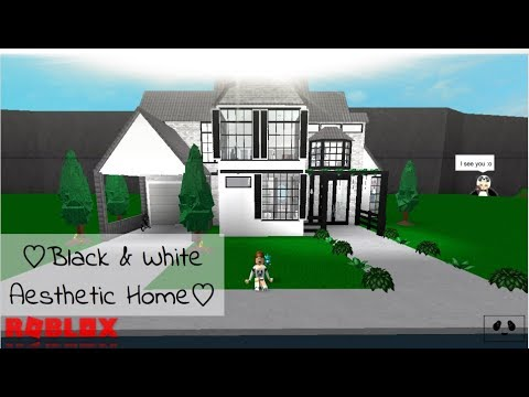 Black & White Aesthetic Home : Speed build- ROBLOX | Bloxburg |