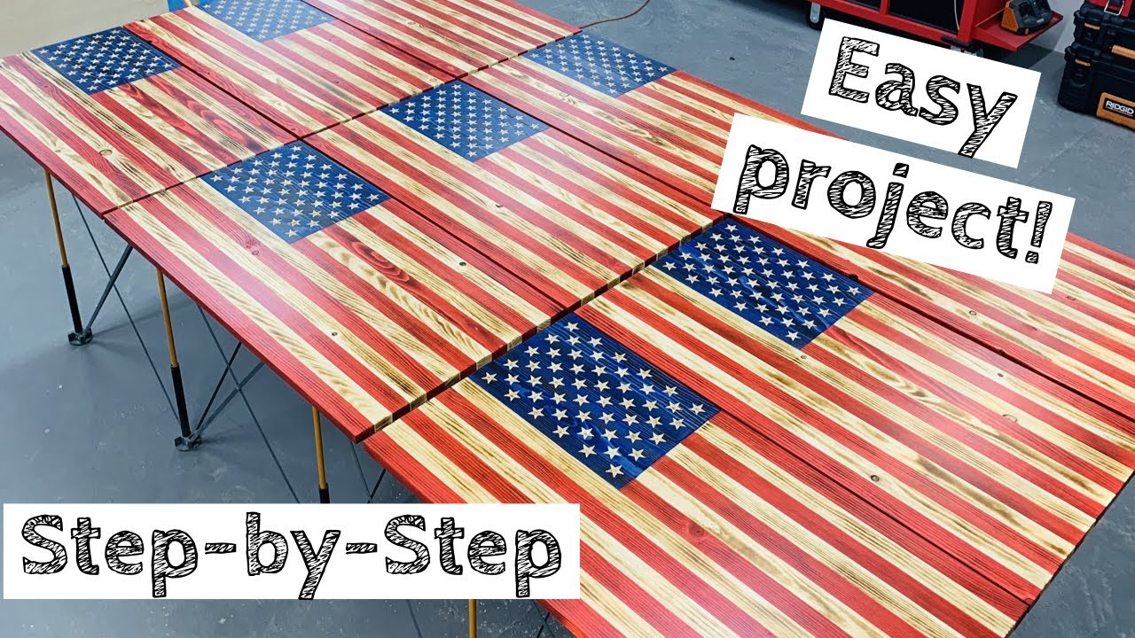 Most In-Depth Wood American Flag Build | Make Money Woodworking! | How to