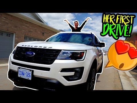 HER FIRST DRIVE IN HER NEW CAR! (you won't believe what happened)