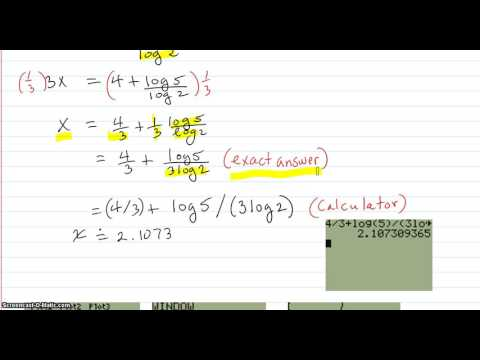 Solve the exponential equation using logs, and graphically
