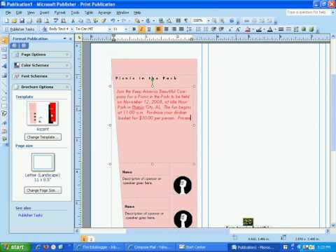 Create a brochure in Publisher 2007