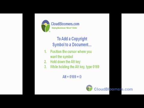 How to get a Copyright Symbol Inserted into a Document l CloudBloomers.com