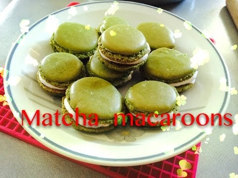 Cookingwith Janice❤How to make Green Tea Macaron Shells (Matcha)- Without Almond
