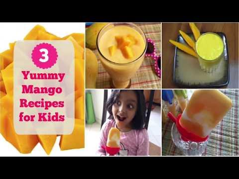 3 Mango Recipes desserts for kids: Mango Yogurt Popsicles, Mango milkshake, Mango Lassi