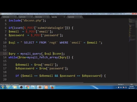 LOGIN LOGOUT REGISTER PHP HTML CSS TUTORIAL SESSIONS FORMS