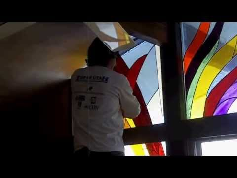 Dance Of Life Stained Glass Install-Higher Res