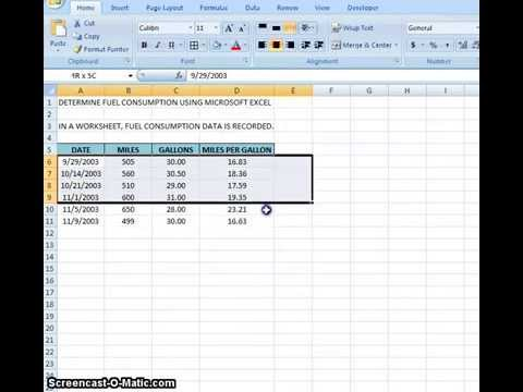 00006 - How To Determine Fuel Consumption Using Microsoft Excel