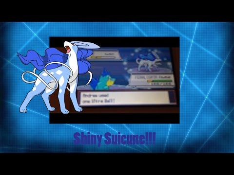 Shiny Suicune after over a year of hunting! (Heart Gold)