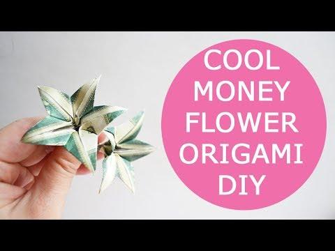 Cool Money Flower Origami Dollar Tutorial DIY Folded No glue