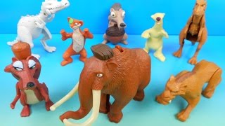 2009 ICE AGE 3 DAWN OF THE DINOSAURS SET OF 8 McDONALD'S HAPPY MEAL MOVIE TOYS VIDEO REVIEW
