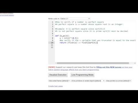 How to determine if an integer is a perfect square. Introduction to programming in Python