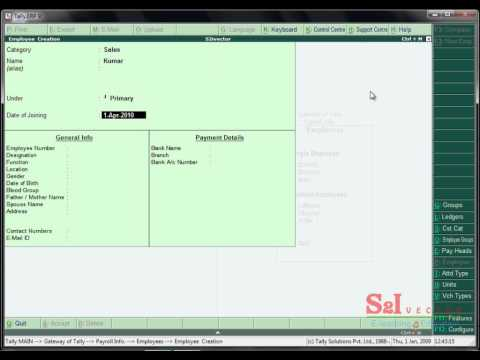 how to create payroll process in tally erp9 in tamil video tutorial create by s2ivector