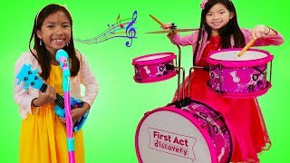 Download Emma & Wendy Pretend Play with Musical Instrument Toys for Kids & Sing Nursery Rhymes