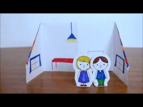 Fold a paper doll's house from one sheet of paper.