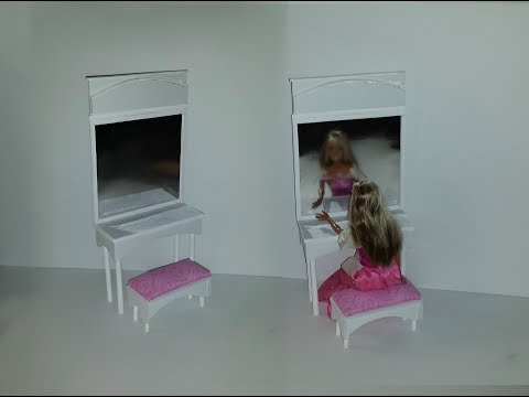 How to make a Doll Makeup Dresser with Mirror