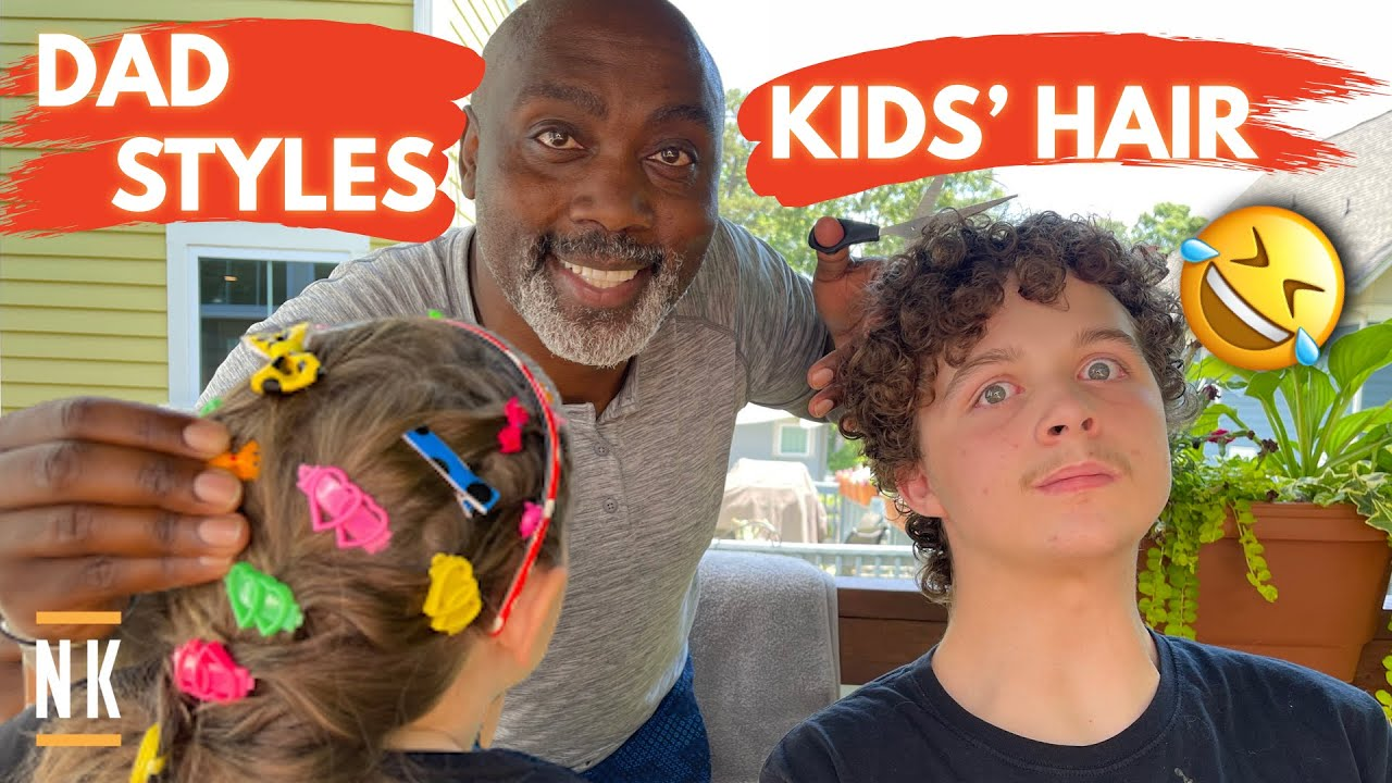 BLACK DAD STYLES WHITE DAUGHTER'S HAIR FOR THE FIRST TIME | NO EXPERIENCE!