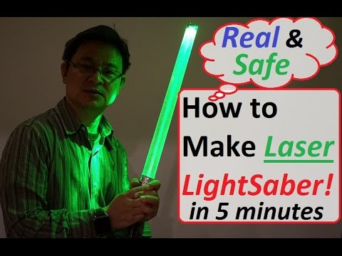 How to make Real and Safe Laser Lightsaber in 5 minutes! DIY Laser Lightsaber