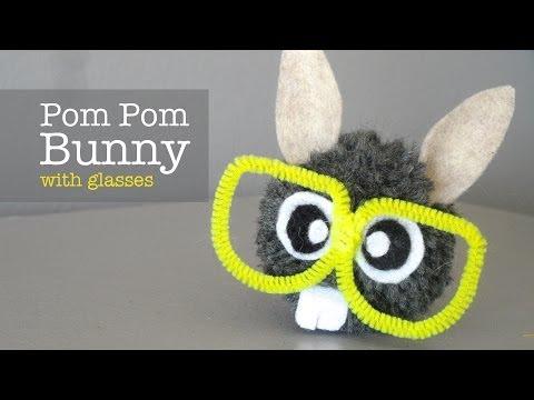 How to Make Pom Pom Bunny with Glasses