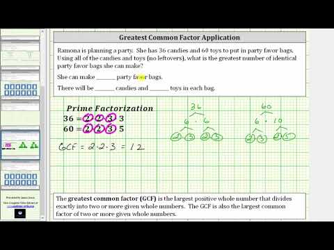 Greatest Common Factor Application - Prime Factor Method Only