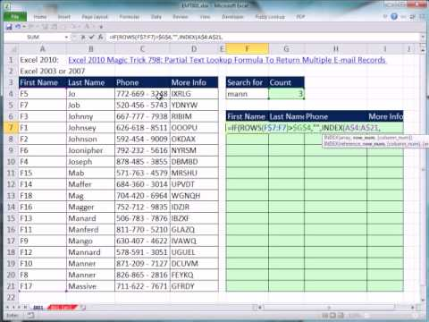Excel 2007 or 2003 Magic Trick 801: Partial Text Lookup Formula To Return Multiple Records