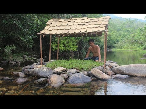 Primitive Technology: Build a Tiled Roof Hut on the Stream