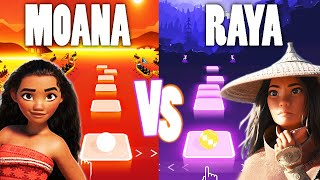 Moana How Far I'll Go Vs Raya And The Last Dragon Lead The Way - Tiles Hop EDM Rush