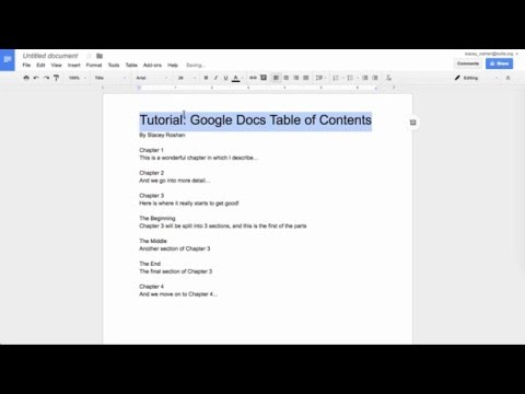 Google Docs: Table of Contents, Headers, & Outline Tool