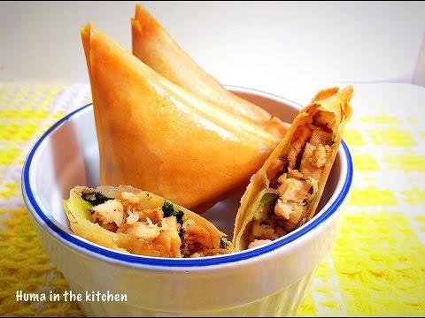 Chicken Samosa Recipe Pakistani - How To Make Samosa In Urdu by (HUMA IN THE KITCHEN)