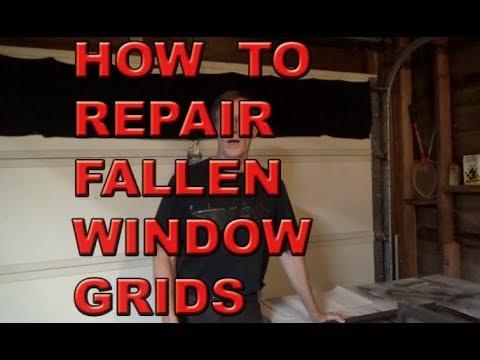 Repairing Broken Double Pane Aluminum Window fallen grids