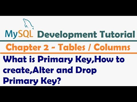 What is Primary Key, Create Primary Key , Alter Primary Key and Drop Primary Key   MySQL Tutorial