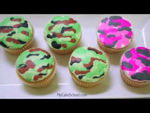 Camouflage Cupcakes in Buttercream! Quick Tutorial!