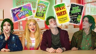 DISNEY ZOMBIES CANDY CHALLENGE. ADDISON VS ZED VS BONZO VS ELIZA (Totally TV Characters)