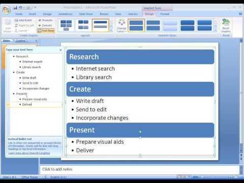 Office 2007 Demo: Create a vertical bullet list