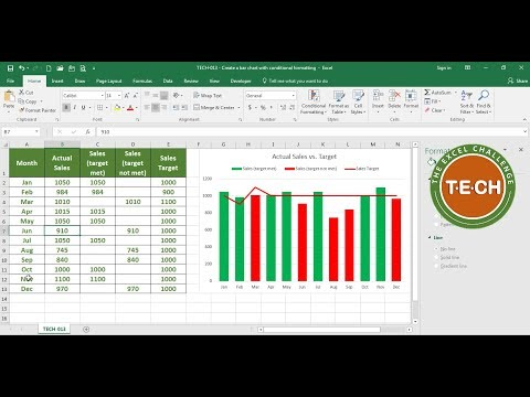 TECH-013 - Create a bar chart with conditional formatting in Excel