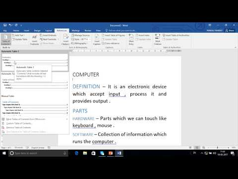 How to Create Index in Word In Hindi