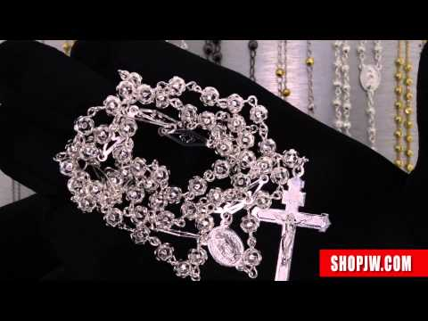 .925 Silver Rosary Chain Necklaces Rosario Baptism Cross Pendant Shopjw