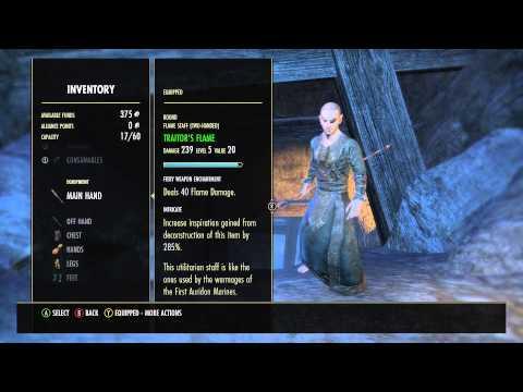 Elder Scrolls Online Traitor's Flame Staff How to analysis