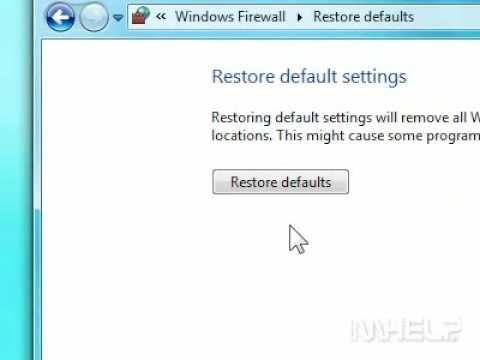 How to restore default settings for Windows Firewall in Windows 7