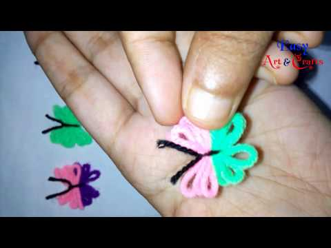 DIY Yarn Butterfly - How to Make Cute Yarn ( Wool ) Butterfly - Easy Art & Crafts