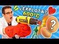 Experimento PISTOLA DE CALOR DE 600 GRADOS vs HUEVOS Y GOMITAS   Curiosidades con Mike