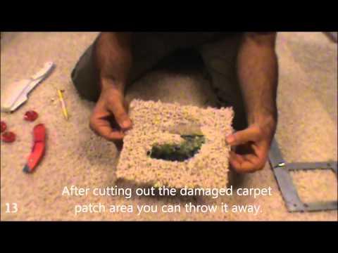 Cutting out carpet repair patch