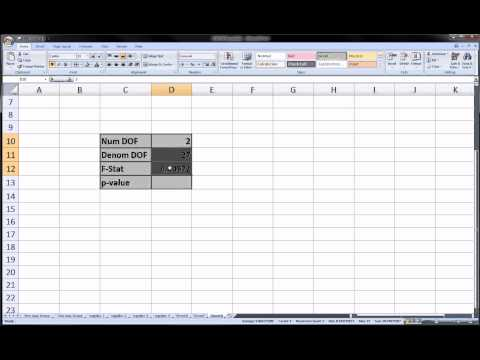 Excel -   F statistic   and    P value