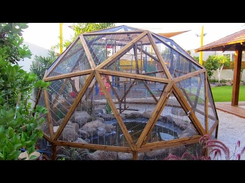 Geodesic Dome from wood construction Stage 4 cage wire inserts