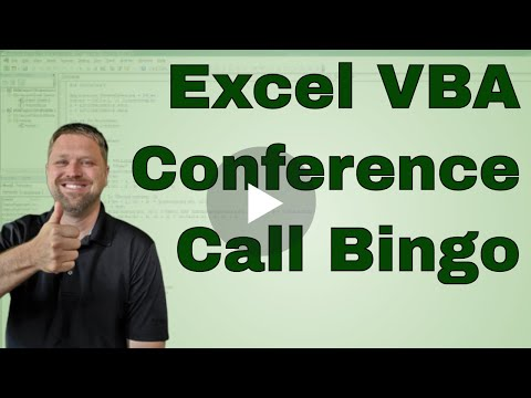 Excel Conference Call Bingo (please comment if you plan to use this) - CODE INCLUDED
