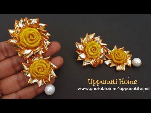 How To Make Designer Yellow Rose Gota Earrings At Home | DIY | Paper Jewelry Making | Uppunuti Home