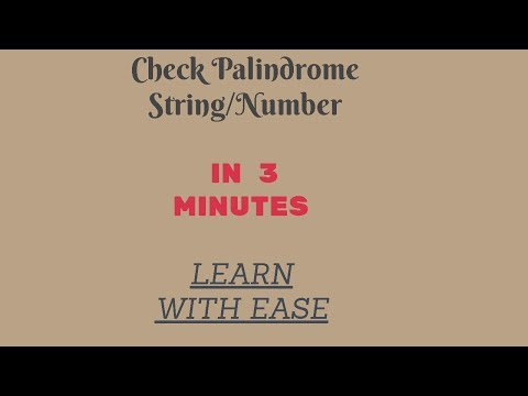TCS MOST IMPORTANT PROGRAM TO CHECK PALINDROME STRING OR NUMBER