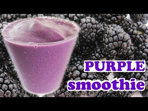 Healthy Purple Smoothie Recipe - Blackberry Banana Flax Seeds Agave Nectar Milk Milkshake by Jazevox