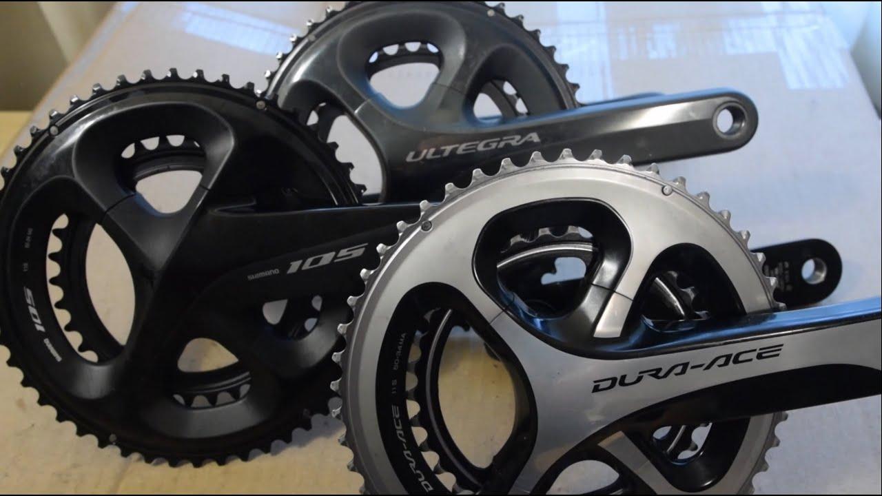 Shimano 105 vs ultegra vs dura ace crankset - in depth weight comparison