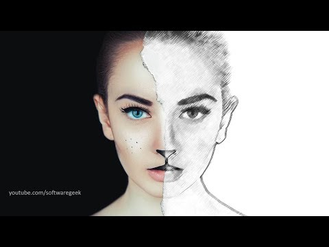 Half Sketch Effect -  Photoshop CC tutorial (2017)