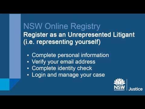 NSW Online Registry - Register as an unrepresented litigant